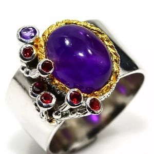 Jewelry - New! Giant Amethyst Cabochon Sterling Silver Ring